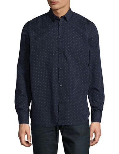 Point Zero Easy-Iron Semi-Fit Luxury Shirt-BLUE-Small