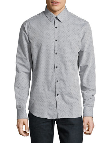 Point Zero Printed Sport Shirt-GREY-Medium