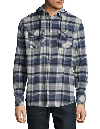 Point Zero Checkered Flannel Hooded Sportshirt-BLUE-Large
