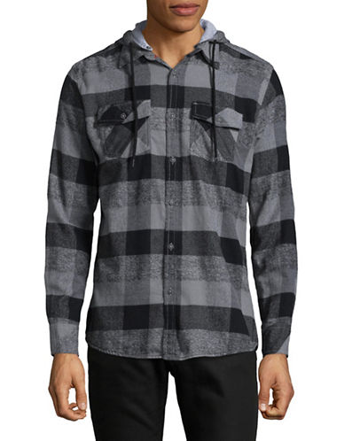 Point Zero Hooded Checkered Sport Shirt-NATURAL-Medium