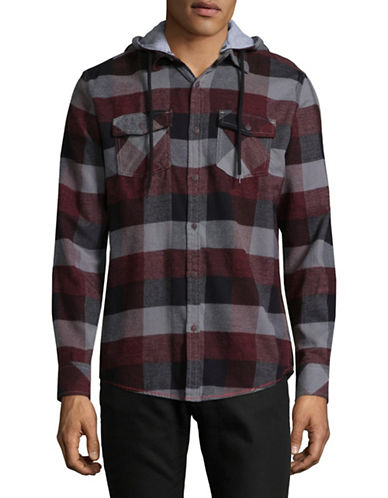 Point Zero Hooded Checkered Sport Shirt-RED-Medium