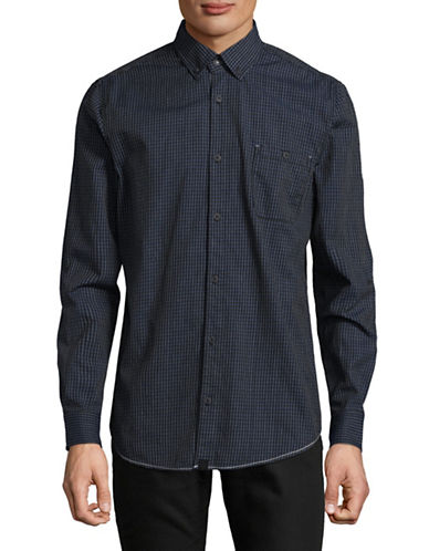 Point Zero Plaid Cotton Sportshirt-BLUE-Large