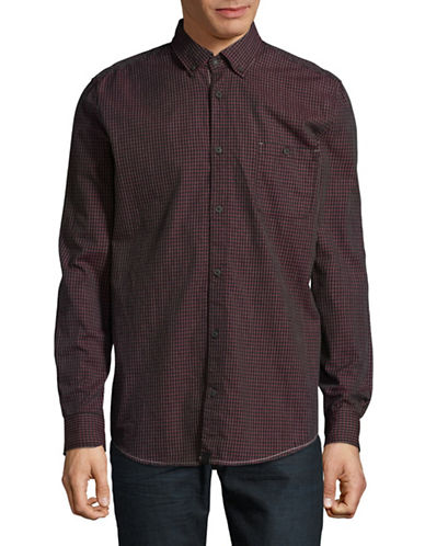 Point Zero Plaid Cotton Sportshirt-RED-Small
