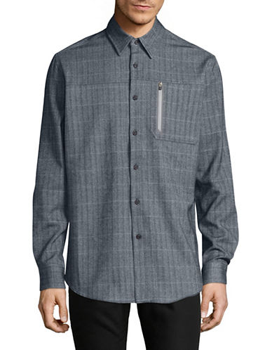 Point Zero Long Sleeve 4-Way Stretch Check Shirt-BLUE-Small