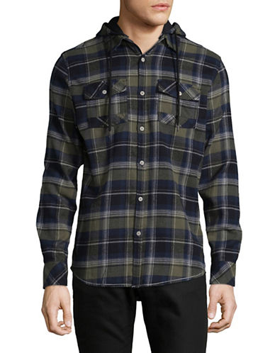 Point Zero Checkered Flannel Hooded Sportshirt-GREEN-Large