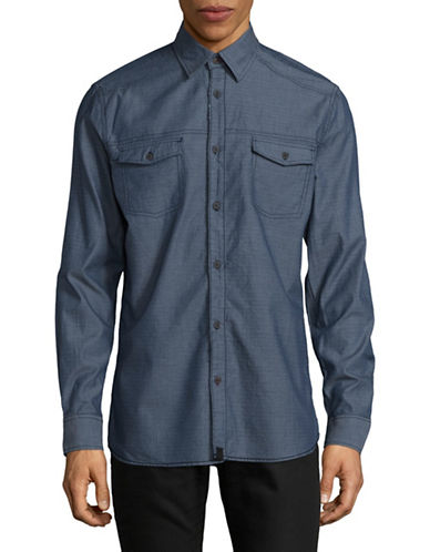 Point Zero Mini Check Print Button-Down Shirt-BLUE-Medium