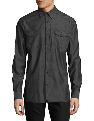 Point Zero Mini Check Print Button-Down Shirt-BLACK-X-Large