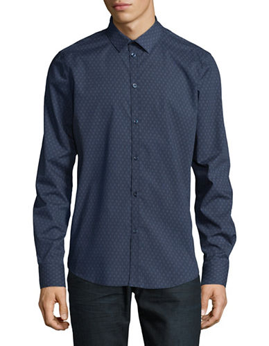 Point Zero Dot Diamond Print Shirt-BLUE-Medium
