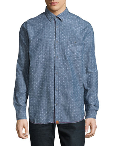 Point Zero Cotton Chambray Slub Sport Shirt-BLUE-Small