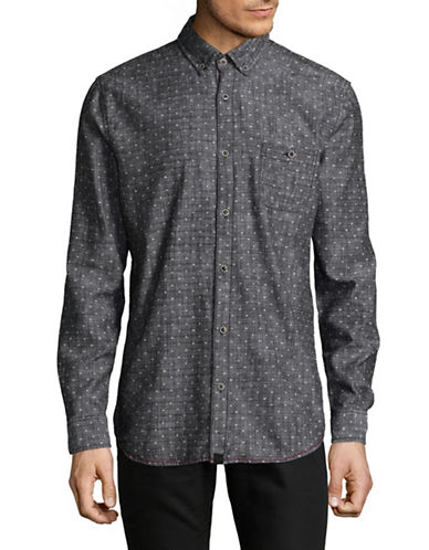Point Zero Cotton Chambray Slub Sport Shirt-BLACK-Large
