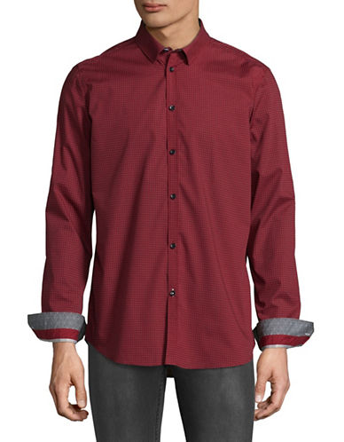 Point Zero Easy-Iron Semi-Fit Luxury Shirt-RED-Small