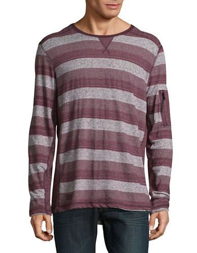 Point Zero Stripe-Stitch Crew Neck Top-RED-Small