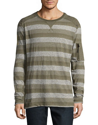 Point Zero Stripe-Stitch Crew Neck Top-GREEN-Large