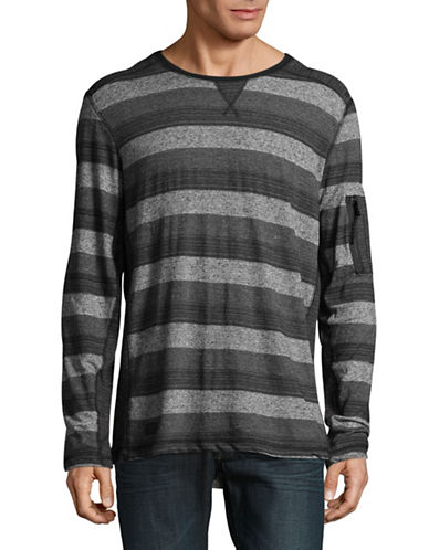 Point Zero Stripe-Stitch Crew Neck Top-BLACK-Large