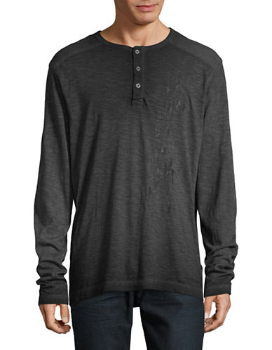 Point Zero Faded Wash Henley-BLACK-Small