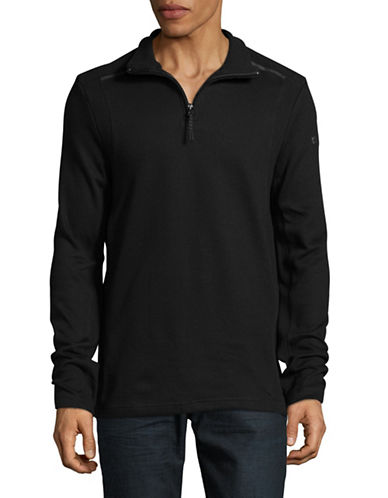 Point Zero Zip Flat Back Cotton Sweater-BLACK-Small