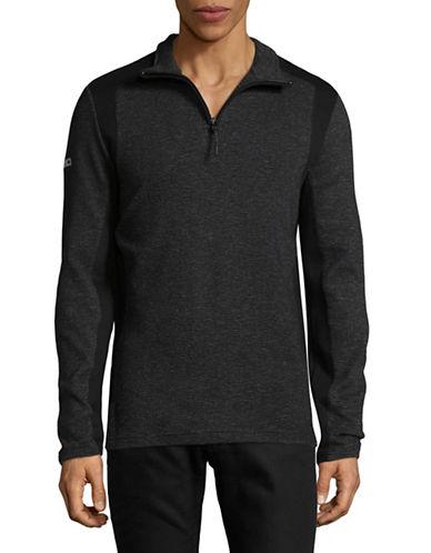 Point Zero Textured Knit Zip Sweater-BLACK-Medium