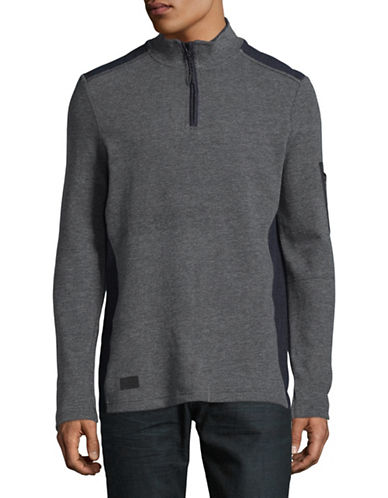 Point Zero Textured Flat Back Quarter-Zip Pullover-BLUE-X-Large