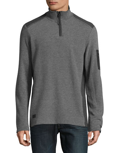 Point Zero Textured Flat Back Quarter-Zip Pullover-GREY-Large