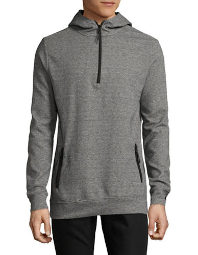 Point Zero Half-Zip Striped Hoodie-GREY-Large