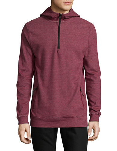 Point Zero Half-Zip Striped Hoodie-RED-Large 89422123_RED_Large