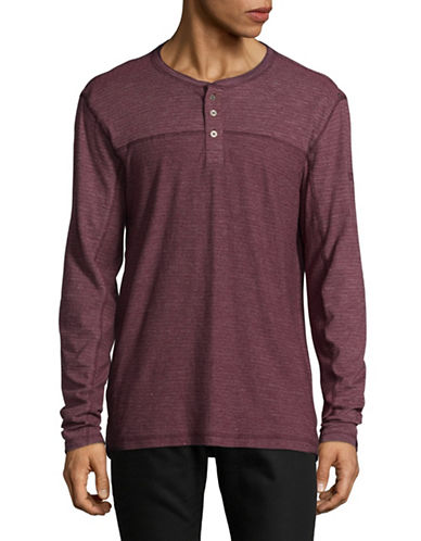 Point Zero Textured Jersey Henley-RED-Large