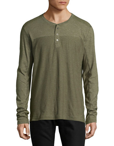 Point Zero Textured Jersey Henley-GREEN-X-Large