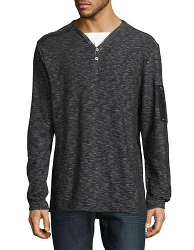 Point Zero Long Sleeve Two-Tone Knit Henley-BLACK-Small