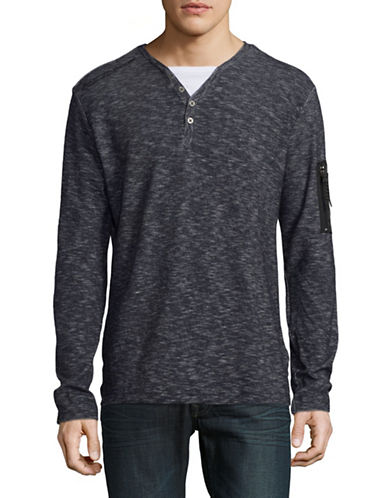 Point Zero Long Sleeve Two-Tone Knit Henley-BLUE-Large