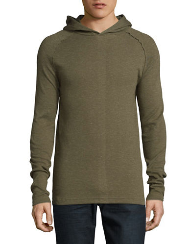 Point Zero Textured Long Sleeve Hoodie-GREEN-Large