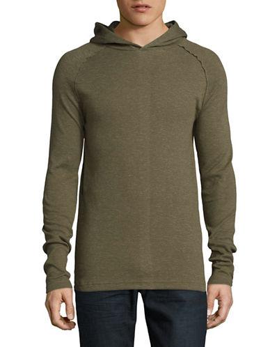 Point Zero Textured Long Sleeve Hoodie-GREEN-Medium
