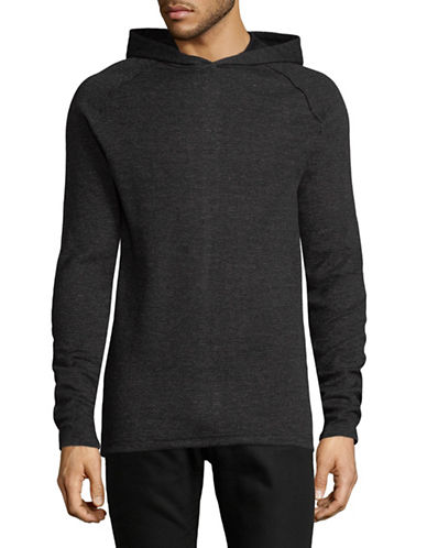 Point Zero Long Sleeve Textured Knit Hoodie-BLACK-X-Large 89695717_BLACK_X-Large