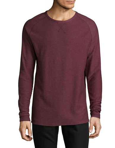 Point Zero Raglan Raised Textured Cotton Sweater-RED-Small