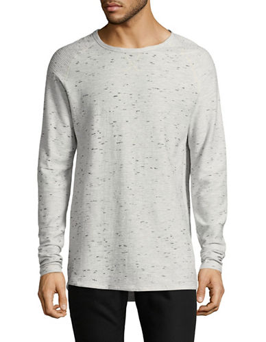 Point Zero Raglan Raised Textured Cotton Sweater-NATURAL-Small