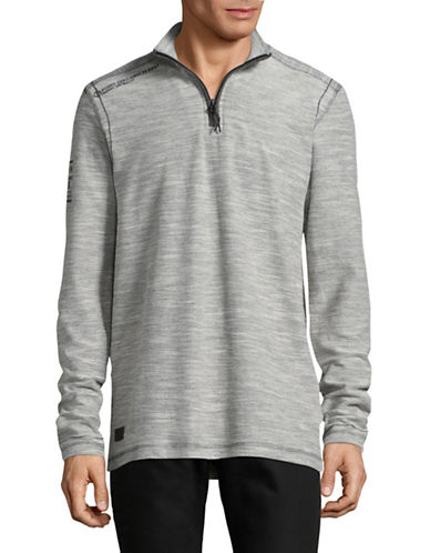 Point Zero Marled Half-Zip Sweater-GREY-Large
