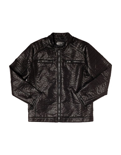 Point Zero Textured Biker Jacket-BLACK-Medium