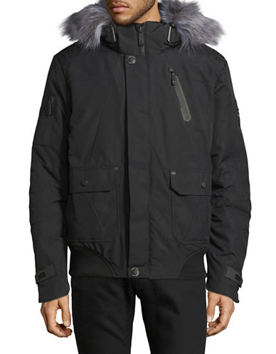 Point Zero Hooded Oxford Bomber Jacket-BLACK-Medium 89378023_BLACK_Medium
