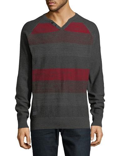 Point Zero Striped Cotton Sweater-GREY-Medium
