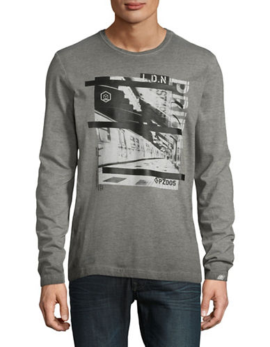 Point Zero Mix Jersey Print Sweatshirt-GREY-X-Large