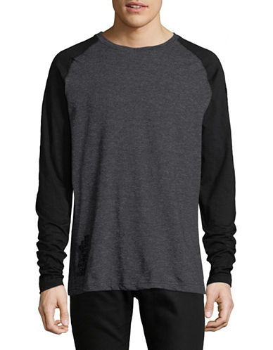 Point Zero Long Sleeve Slub Garment Wash Top-BLACK-Small