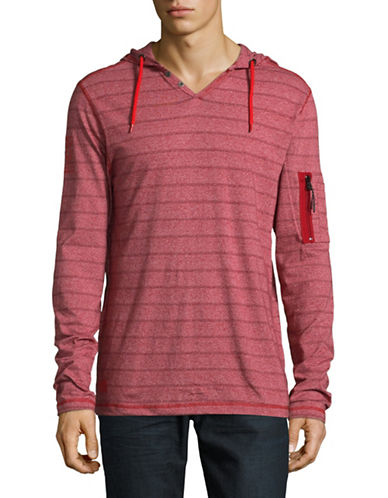 Point Zero Striped Hooded Henley-RED-Large