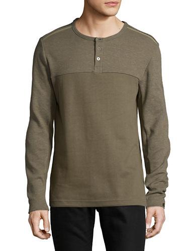 Point Zero Long Sleeve Textured Cotton Henley-GREEN-Medium