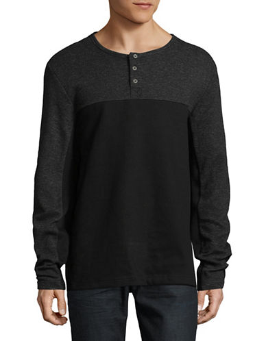 Point Zero Long Sleeve Textured Cotton Henley-BLACK-Small