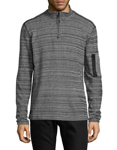 Point Zero Textured Knit Sweatshirt-BLACK-Large