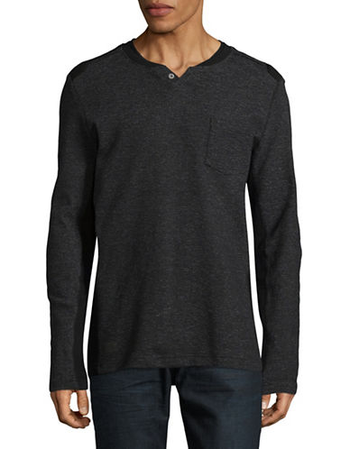 Point Zero Baseball Henley Shirt-BLACK-Small