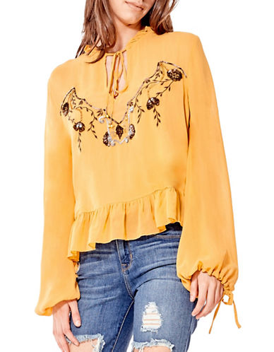 California Moonrise Olive Treasures Embellished Tie Front Blouse-YELLOW-Large