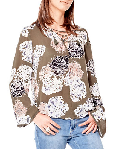 California Moonrise Olive Treasures Floral-Print Lace-Up Blouse-KHAKI MULTI-Medium