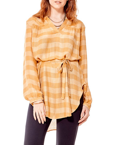California Moonrise Plaid Tunic-YELLOW-Large