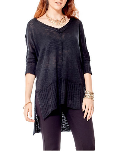 California Moonrise V-Neck Three-Quarter Sleeve Step Hem Sweater-BLACK-Medium
