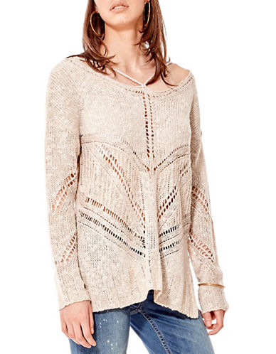 California Moonrise Boucle Knit Sweater-GREY-Large